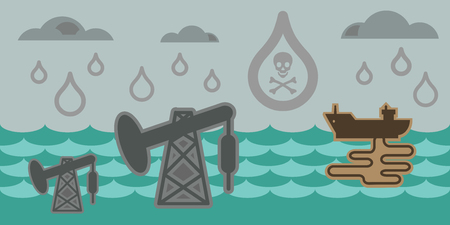 spillage: vector illustration of horizontal banner for ecological problems water pollution acid rains and oil spillage