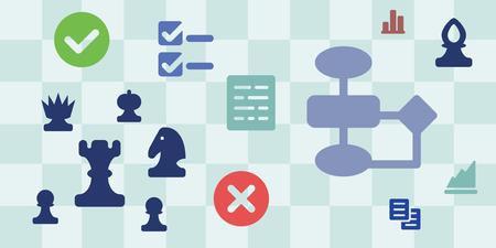 チェス盤とアルゴリズムの意思決定の他の記号との戦略コンセプトの水平バナーのベクトル イラスト