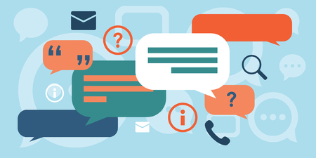 vector illustration of website horizontal banner for concept of interview or discussion with comments and speech boxes