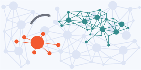 governing: vector illustration of website horizontal  banner for centralization and decentralization in governing concept