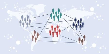 vector illustration of website horizontal banner for concept of international transborder cooperation with  world map with connected groups of people
