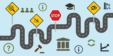 vector illustration of website horizontal  banner for governmental reforms concept with road signs and symbols of political social economic changes Illustration