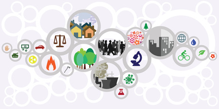 vector illustration of website horizontal  banner for sustainable development concept with circles showing ecological risks and solutions for cities and countries. Çizim