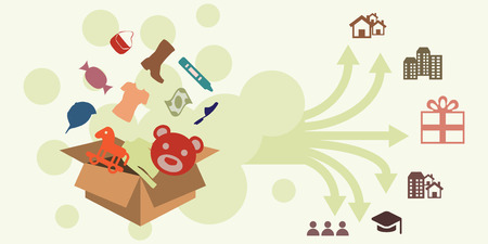 Vector illustration of horizontal banner with donations box with goods and donations distribution to different social groups concept.