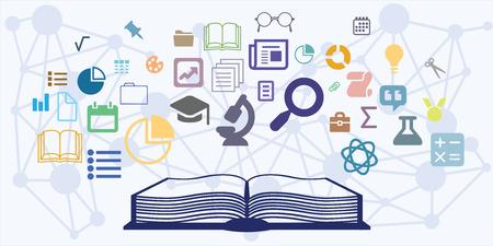 Vectorillustratie van horizontale banner met visualisatie van het onderwijsproces met open boek en verschillende behandelde wetenschapshoofdstukken. Stock Illustratie