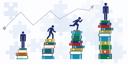 Vector illustration of horizontal banner with student growth chart climbing up to higher level with help of books / graduating from university concept.