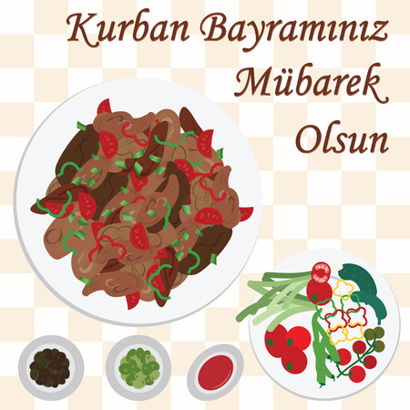 Vector illustration of greeting card for sacrifice feast with traditional meat meal  Kavurma and greeting in Turkish language which means Have a Blessed Kurban Holiday.