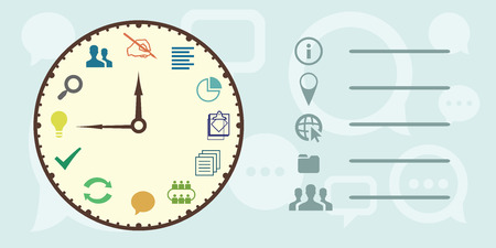 Vector illustration of horizontal banner for work timing concept and project writing and implementation process with a big clock.