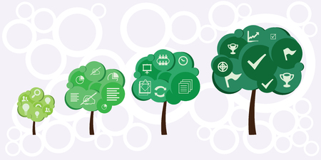 Vector illustration of horizontal banner for  growing tree showing  phases of project developing from idea to results.