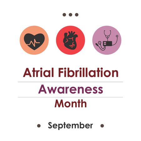 Vector illustration for  National Atrial Fibrillation Awareness Month.