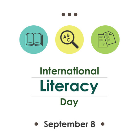 illiteracy: Vector illustration for International Literacy Day  in September. Illustration