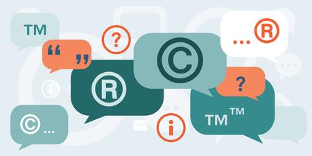 知的財産権著作権およびスピーチの泡と引用商標についての議論のベクトル イラスト。  イラスト・ベクター素材