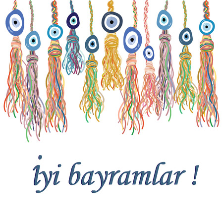 Vector illustration of hanging ethnic style decoration with turkish blue eye nazar boncugu charms and greeting in Turkish language which means Happy Holiday. Stok Fotoğraf - 85187593