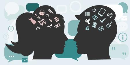 남성과 여성의 머리 실루엣 및 남자와 여자의 생각을 상징하는 다른 기호로 성별 차이 개념의 벡터 일러스트 레이 션.