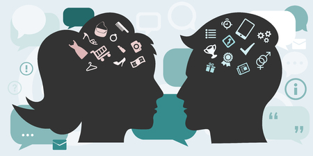 Vector illustration of gender differences concept with male and female head silhouette and different symbols symbolizing thoughts of man and woman. Illustration