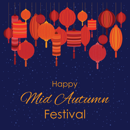 Vector illustration of greeting card for mid autumn festival vector vector illustration of greeting card for mid autumn festival with traditional lanterns with text and red lamps handing decoration on dark sky m4hsunfo