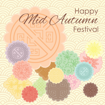 Ilustracja wektorowa karty z pozdrowieniami na Mid Autumn Festival z tradycyjnymi ciastkami księżycowymi i pastelowym ozdobnym tłem.