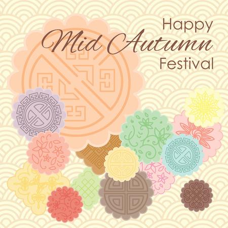 Vectorillustratie van groetkaart voor Medio Autumn Festival met traditionele mooncakes en pastelkleur sierachtergrond.