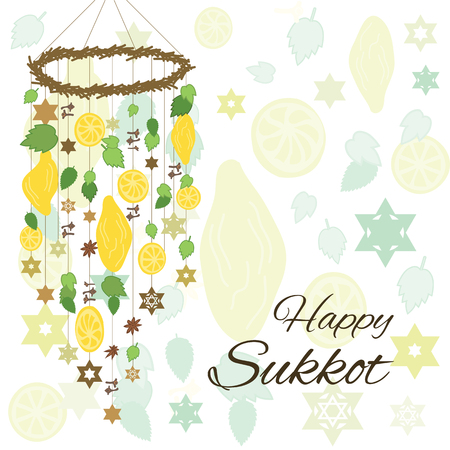 Vector illustration of greeting card for Sukkot jewish holiday with hanging decoration from palm leaves spices and etrogs and text greeting in english.