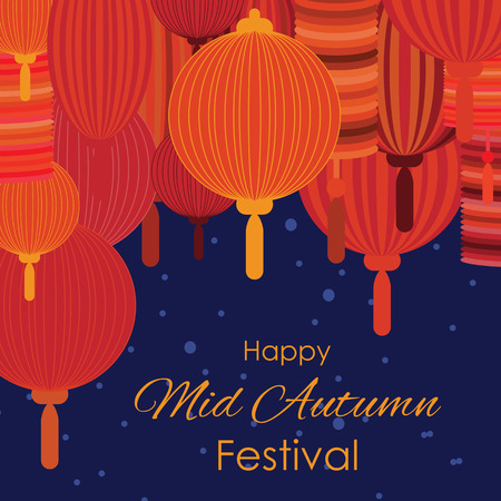vector illustration of greeting card for Mid Autumn Festival with traditional lanterns with text and red lamps handing decoration on dark sky background Ilustrace