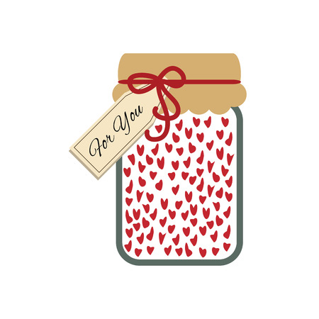 vector illustration of  glass jar with plenty of hearts inside and for you note on top for valentines day or romantic message Illustration