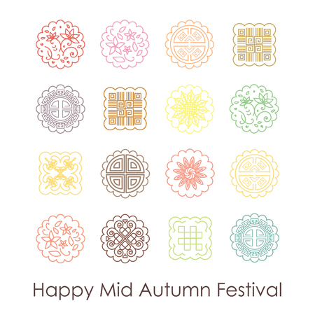 Seamless pattern for Mid Autumn Festival with traditional mooncakes in thin line flat style