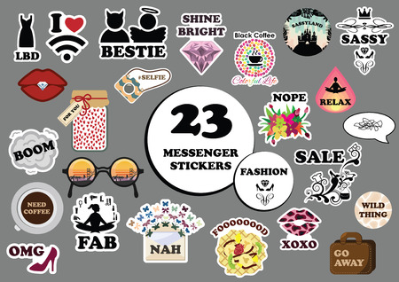 fab: vector illustration for modern funny stickers for messenger or social media in fashion style and different slang expressions and acronyms and memes