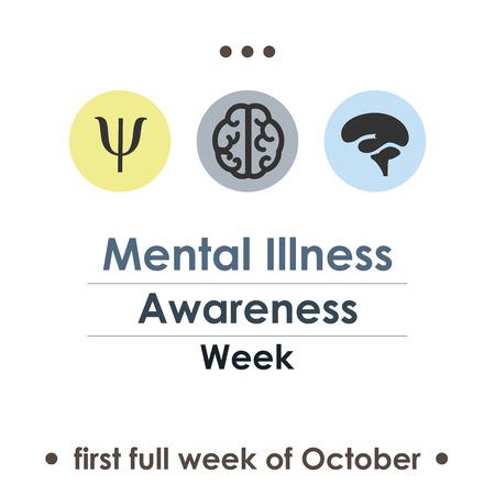 vector illustration for National Down Mental Illness Awareness week in october