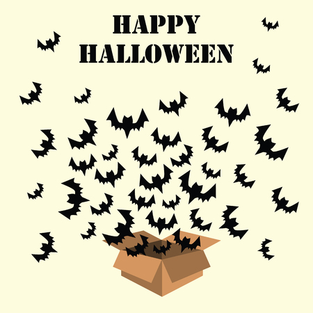 Halloween holiday with box full of bats flying out of it and best wishes