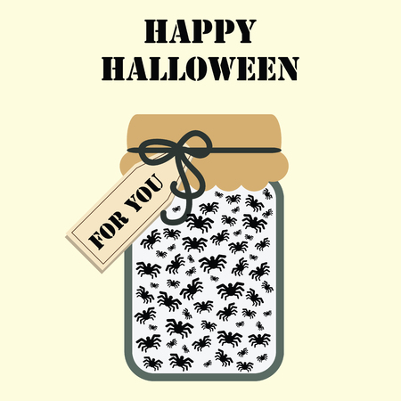 Halloween holiday gift with jar full of spiders and tag with For You text