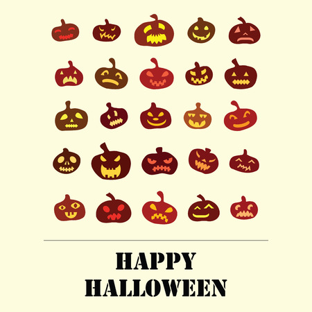 Halloween holiday with pumpkins geometrical square flat design and wishes on white background Illustration