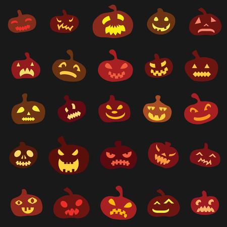 Halloween holiday with bright pumpkins lanterns geometrical square flat design on black background Illustration