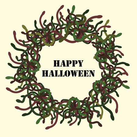 Vacances d'Halloween avec cadre de serpents verts cercle et souhaits à l'intérieur