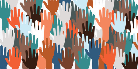 horizontal vector illustration for big number of hands voting and waving for election concert or meeting as website banner background