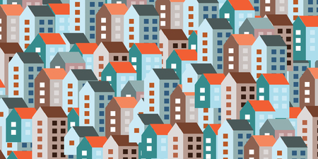 建物や住宅ウェブサイト バナーの背景の都市概念の大きい数のための水平ベクトル図