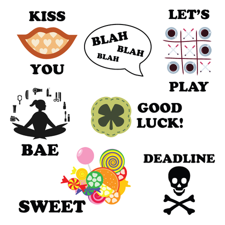 vector illustration for modern funny stickers for messenger or social media in trend style and different slang expressions and acronyms and memes