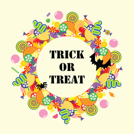 vector illustration for Halloween holiday with colorful sweet candies circle frame and Trick or Treat text inside