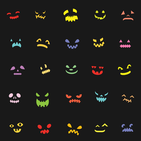 vector pattern for Halloween holiday with glowing scary faces in darkness