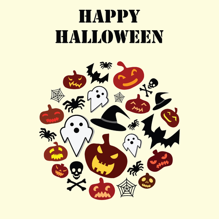 vector illustration for Halloween holiday with pumpkins bats and skulls in circle shape and greeting text