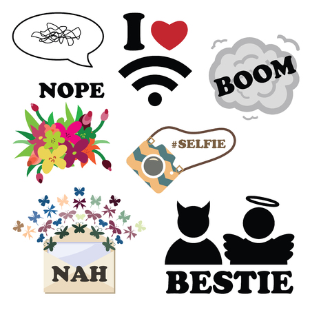 vector illustration for modern funny stickers for messenger or social media in fashion style and different slang expressions and acronyms and memes Stock Vector - 85446359