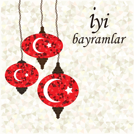vector illustration of traditional ornamental lamps with colorful mosaic and flag of Turkey design and greeting in turkish language which means Happy Holiday