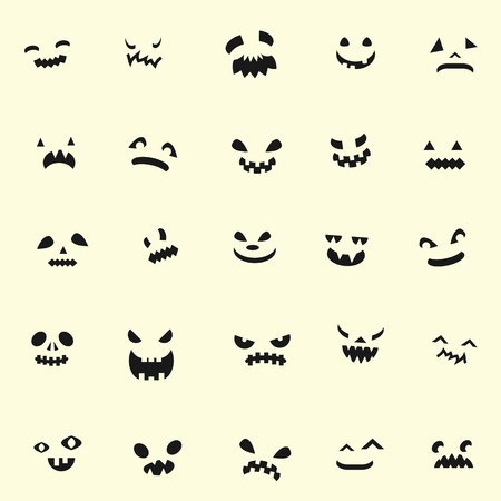 vector pattern for Halloween holiday with dark scary faces on beige background Illustration