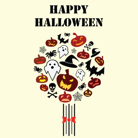 vector illustration for Halloween holiday with pumpkins bats and skulls in circle bouquet shape and greeting text