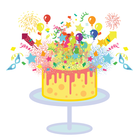 vector illustration of a colorful party cake background with confetti balloons explosion as surprise concept