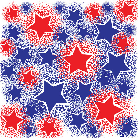 vector illustration of sparkling red and blue stars on white background for background