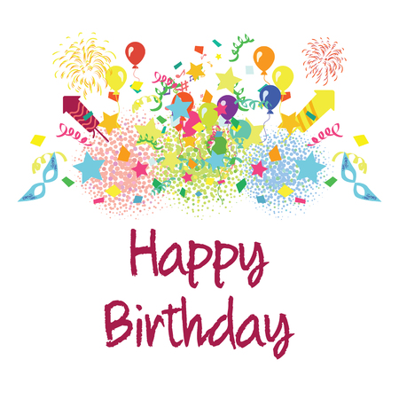 vector illustration of a colorful party background with confetti balloons and Happy Birthday greeting in the middle