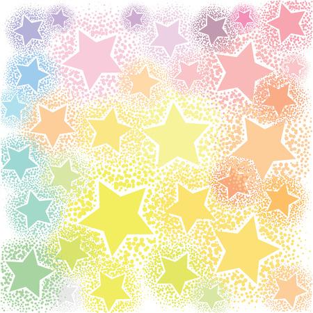 vector illustration of sparkling pastel stars on white for cute soft