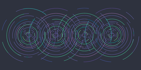 vector illustration of horizontal banner of blue concentric circles on dark backround as waves on water or other physical effects for modern designs