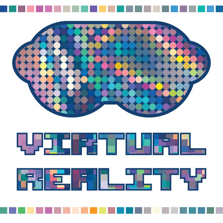 rainbow colors: vector illustration of colorful bright holographic virtual reality glasses with lettering in pixel style and tiles decoration Illustration