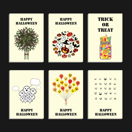vector illustration for six Halloween holiday design layouts with pumpkins bats and skulls for cards flyers or brochure design and with greeting text